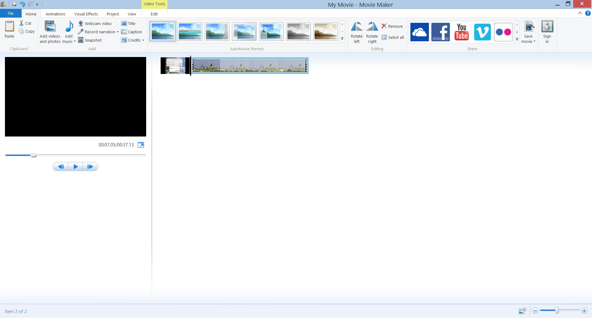 Windows Movie Maker UI with a video loaded