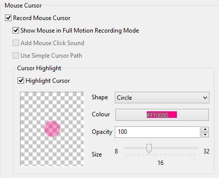 ActivePresenter cursor settings