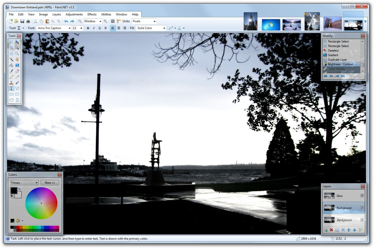 Paint.net Screenshot with loaded images