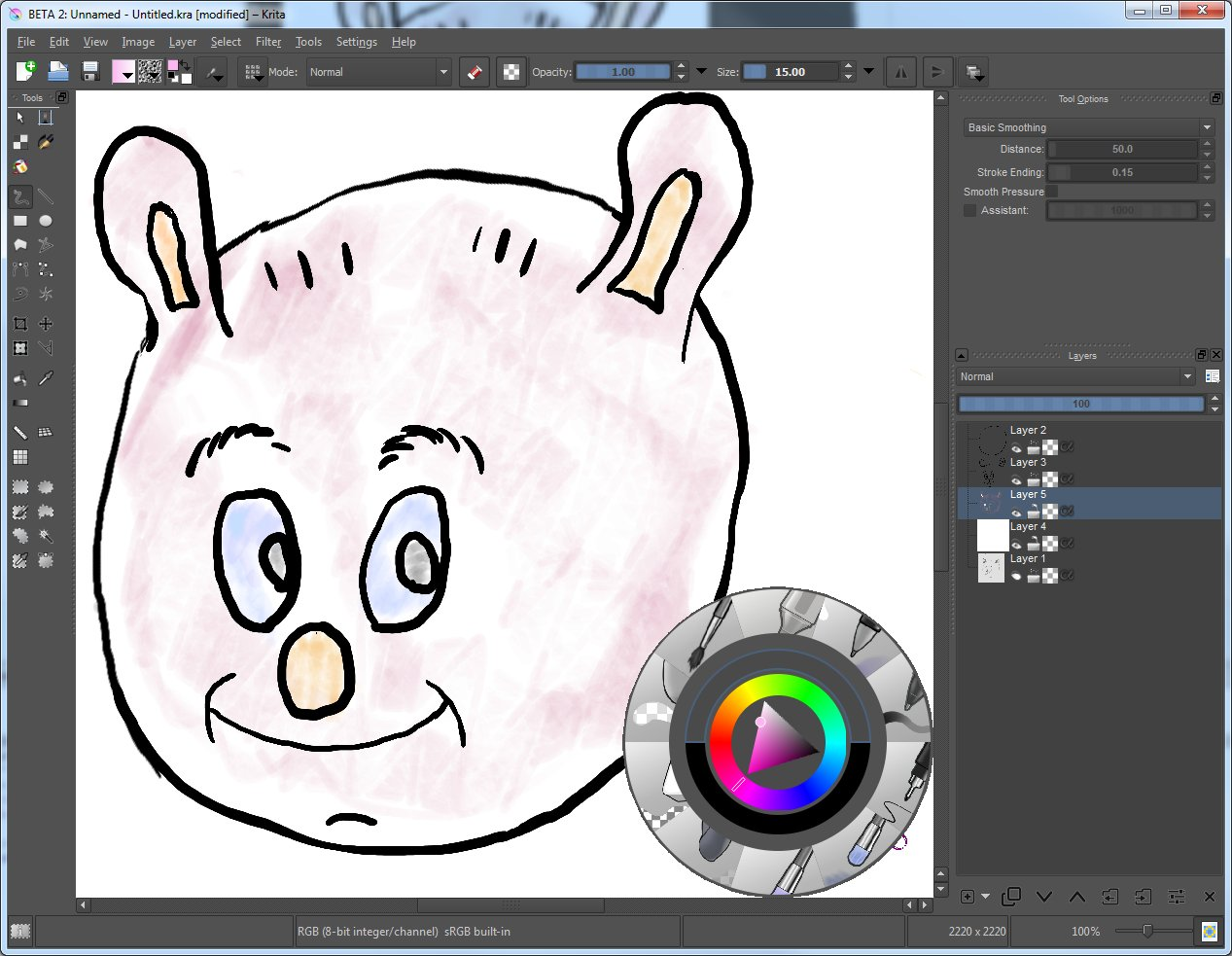 Krita Window Screenshot with a loaded hand drawn image of a pig