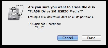 Are you sure you want to erase the drive window