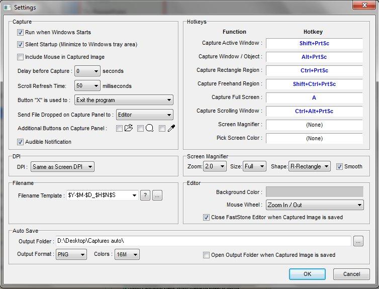 FastStone Capture Parameter Window